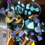 rough gemstones on dop