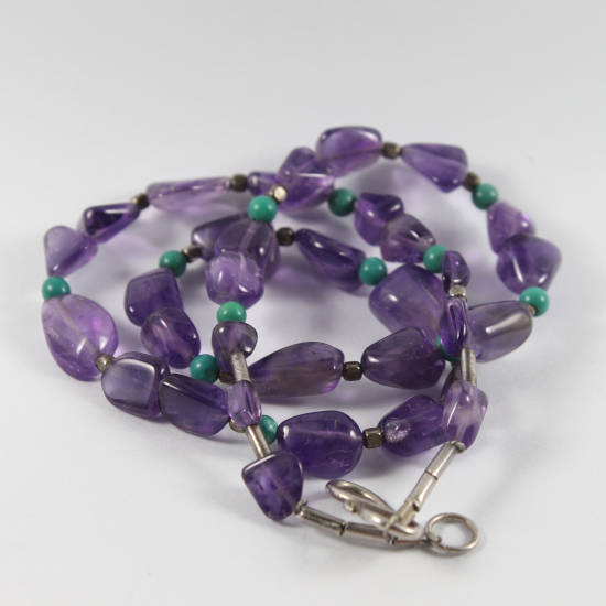 natural turquoise and amethyst bead necklace with Thai silver spacers