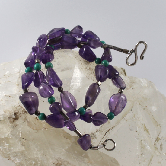 amethyst tumbled beads necklace jewelry natural Brazilian