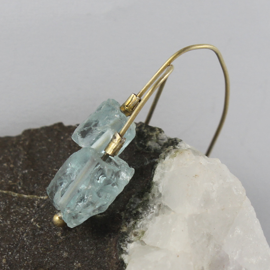 Mozambique aquamarine crystal earrings with gold-plated shepherds hooks