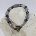 cast silver clasp jewelry with natural blue chalcedony