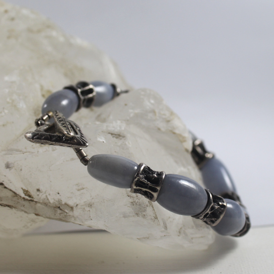 top grade blue chalcedony with cast silver clasp