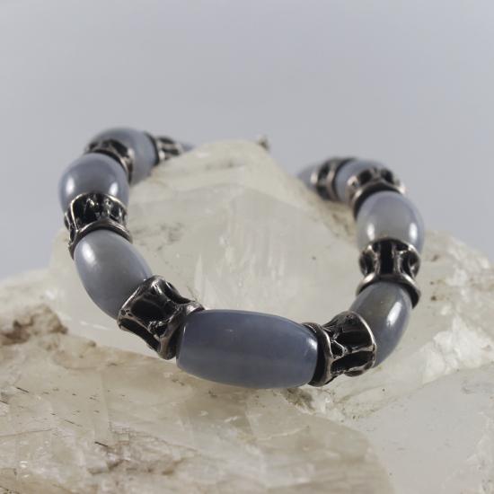 natural blue chalcedony barrel beads bracelet with cast silver fish vertebra beads