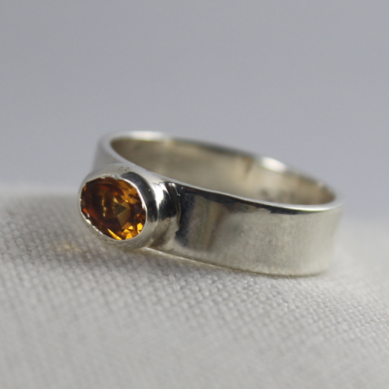 5x7mm oval brandy citrine faceted silver ring