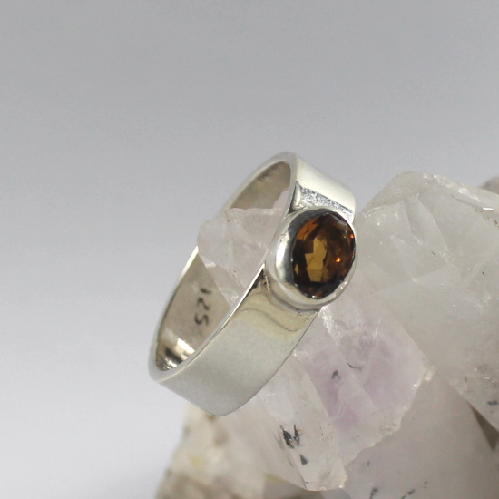faceted brandy citrine silver ring