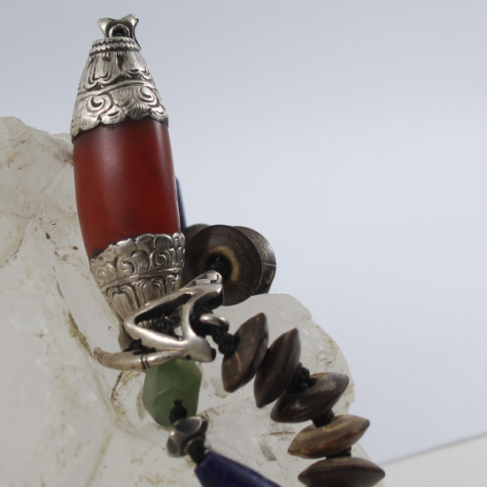 antique carnelian bead Nepal in silver with coconut donuts and silver clasp