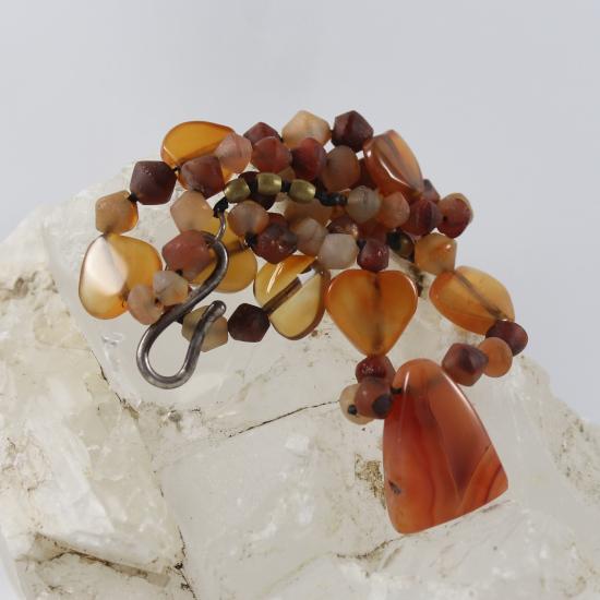 African carnelian wedge bead with carnelian hart beads necklace