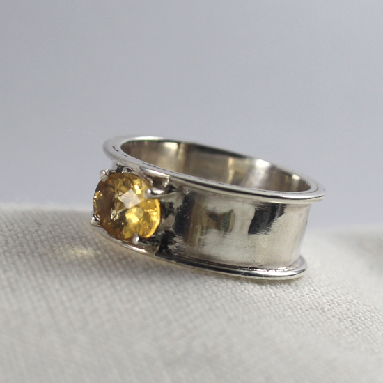 thick band silver faceted citrine silver ring