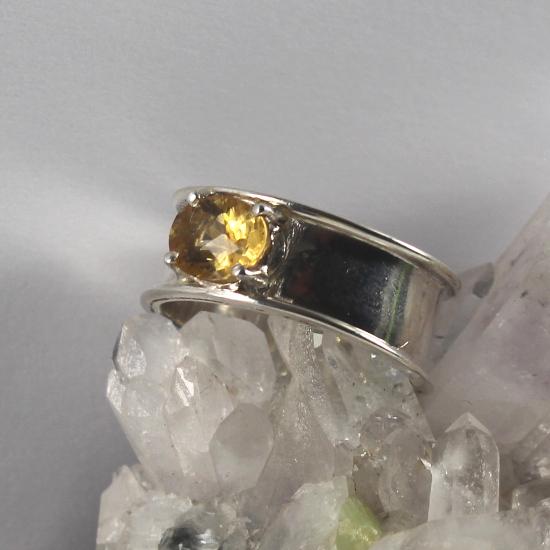 golden citrine quartz fancy cut oval silver ring