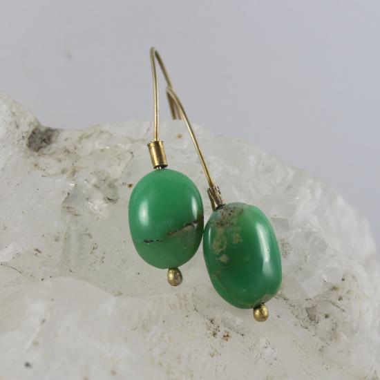 Australian chrysoprase natural apple green earrings