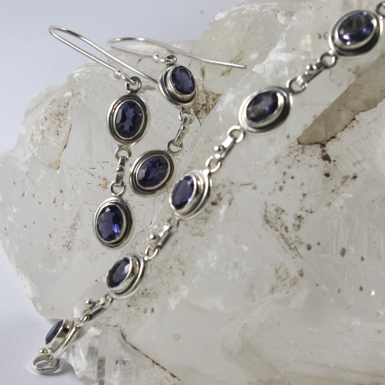 iolite bracelet and earring set with silver