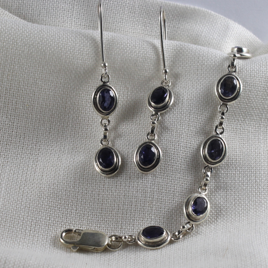 faceted iolite bracelet and earrings matching set in silver