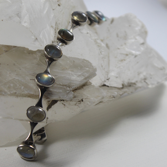 silver bracelet with natural labradorite cabochons in silver
