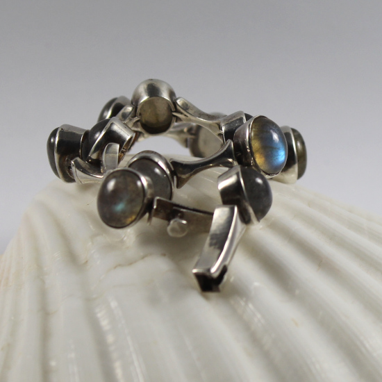 natural labradorite chunky silver bracelet