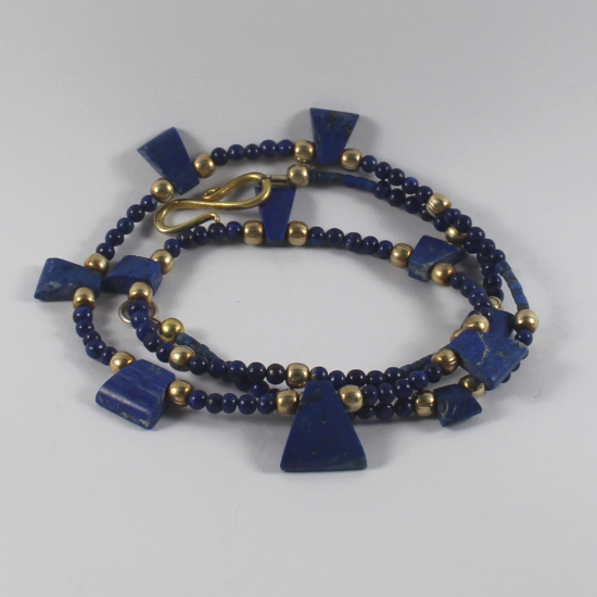 lapis lazuli natural Afghanistan wedges beads necklace jewelry with gold plated silver beads