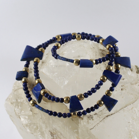 lapis lazuli necklace jewellery with gold beads and clasp