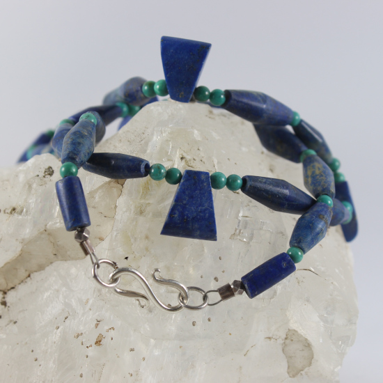 lapis lazuli wedges with natural bicone beads necklace green turquoise beads