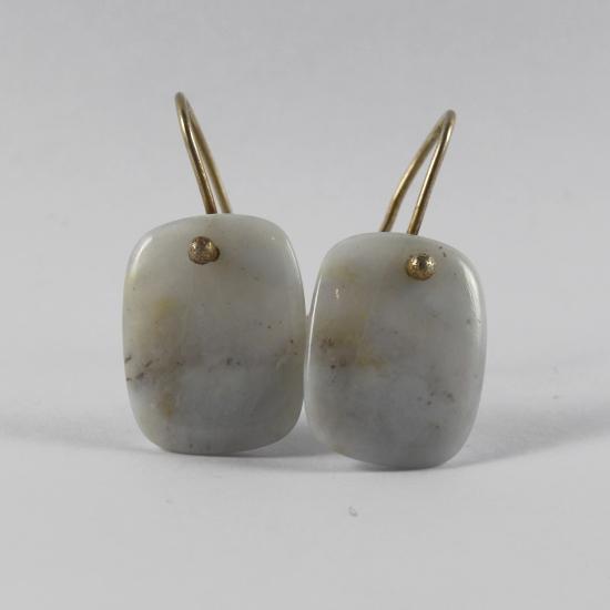 natural blue chalcedony slab earrings jewelry Namibia