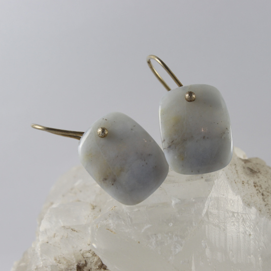 natural Namibia blue chalcedony earrings with silver hooks