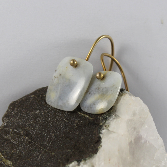 blue chalcedony cushion earrings natural rough Namibia