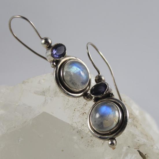 natural Indian rainbow moonstone earrings jewelry