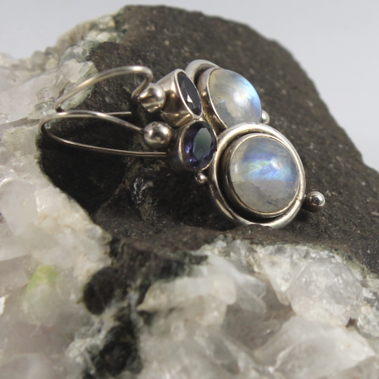 natural rainbow moonstone earrings with iolite and silver
