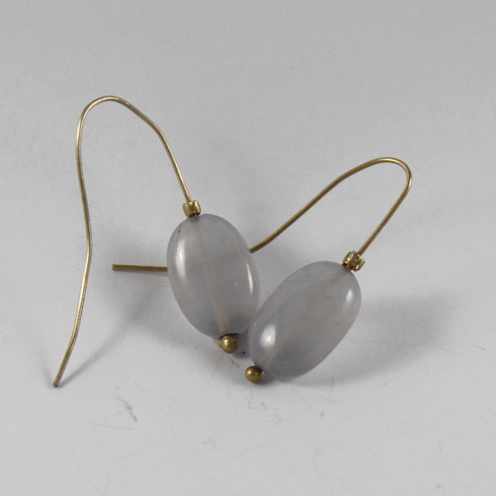clear blue chalcedony earrings with gold hooks