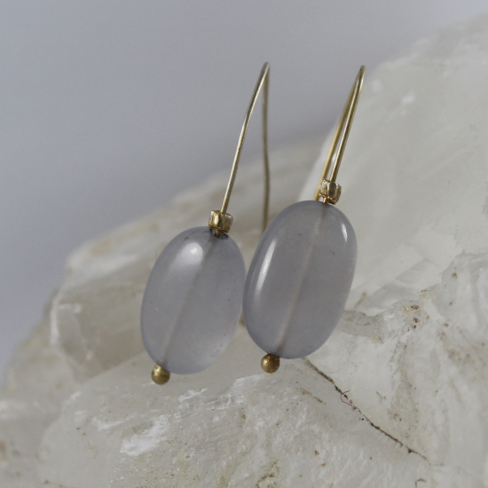 Namibia natural blue chalcedony A-grade earrings on gold hooks