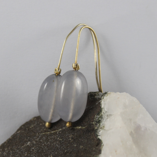 natural Namibia blue chalcedony earrings jewelry