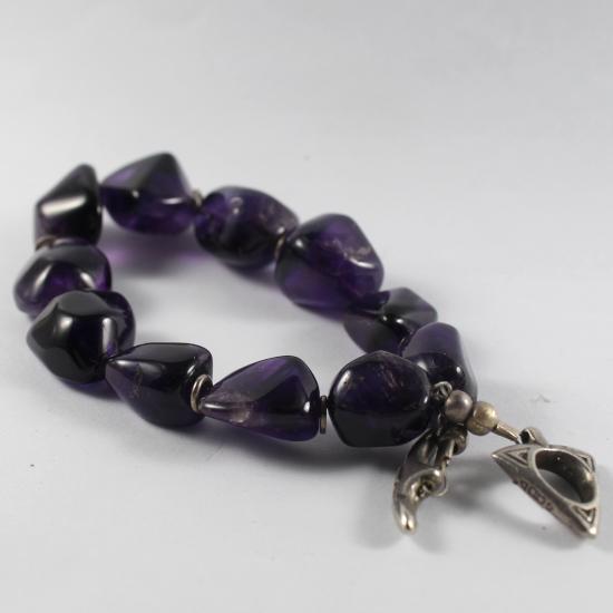 natural gemstone bracelet with silver