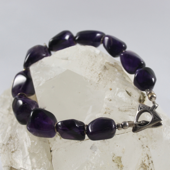 natural amethyst tumbled beads bracelet Brazil