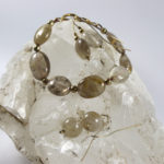 natural rutile quartz bracelets and earrings set with gold-plated silver