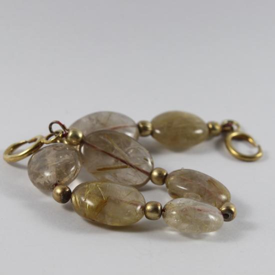 rutile quartz natural bracelet with gold clasp
