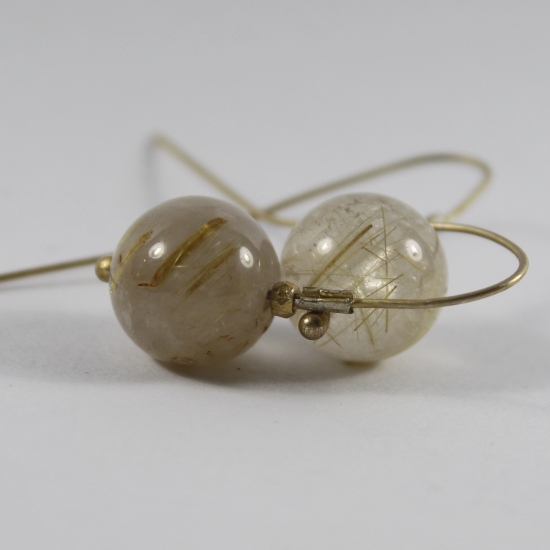 rutile quartz natural round globe earrings with gold-plated hooks