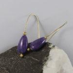 natural sugilite earrings from Wessels mine Kuruman South Africa