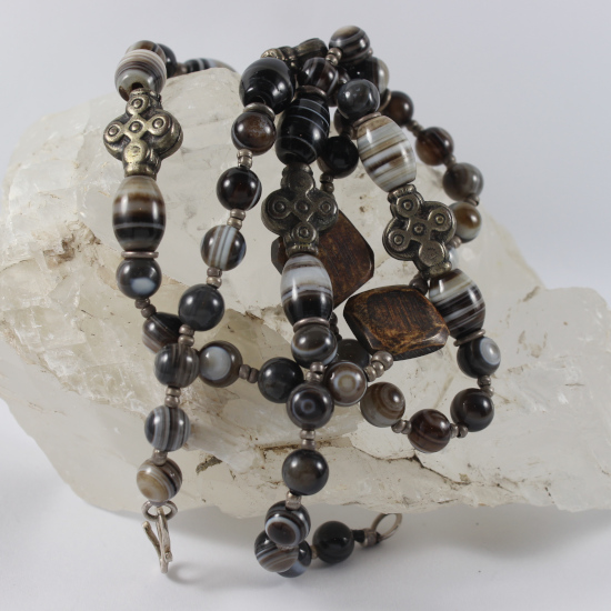 Botswana agate necklace with African silver cross beads and burnt buffalo horn beads