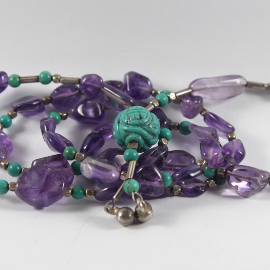 carved stable natural turquoise charm bead China necklace