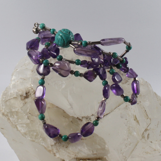 amethyst tumbled beads necklace natural Brazilian