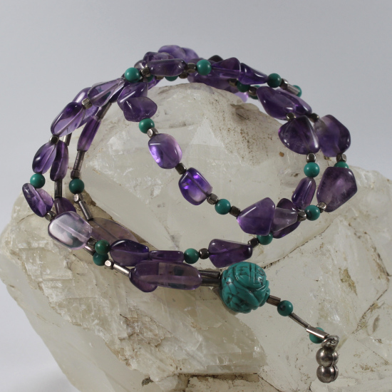 natural amethyst Brazil with turquoise beads and charm necklace jewelry