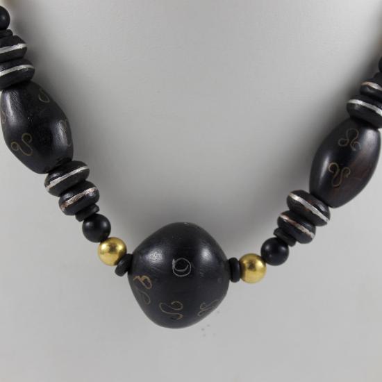 Ethiopian ebony bead inlaid with brass botswana agate barrels necklace jewellery