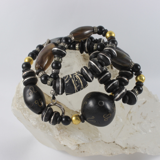 Ethiopia ebony bead inlaid brass antique African trade beads necklace