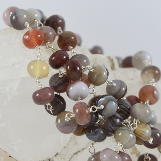Botswana agate button beads color spectrum necklace