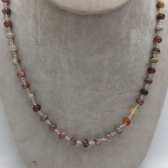 natural Botswana top-grade agate buttons and beads necklace