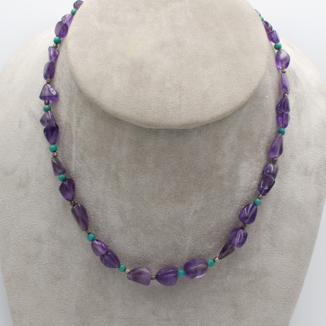 natural Brazilian amethyst necklace with turquoise beads