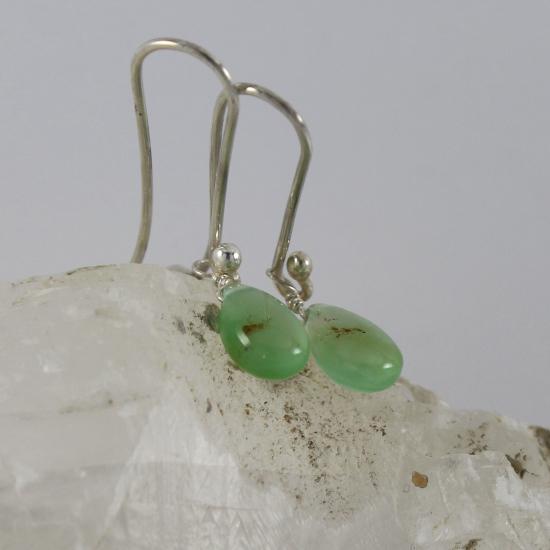 natural light Australian chrysoprase drop earrings