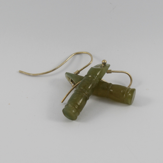 carved Burmese jadeite bamboo earrings jewellery