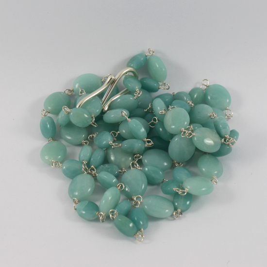 amazonite oval bead jewelry necklace with silver string