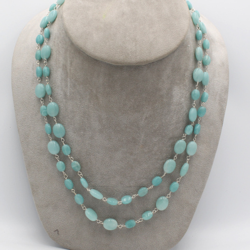 natural amazonite mani bead necklace with silver wire stringing