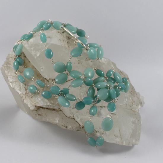 amazonite mani oval beads necklace