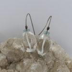 aquamarine and quartz unique gemstone earrings